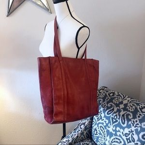 Levenger Red Full Grain Leather Shopper Tote